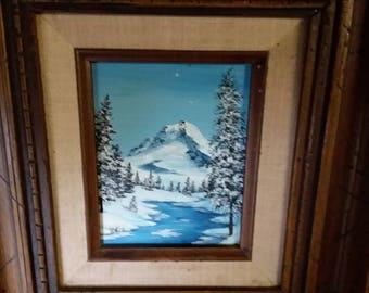 Oil winter scene in wood frame