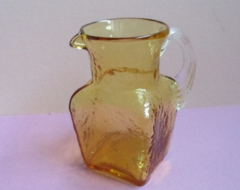Pilgrim Pitcher Topaz Amber Art Glass Pitcher Rock Crystal Window Glass Pitcher Hand Blown Glass Reed Handle Small Pilgrim Pitcher / Vase