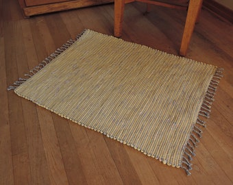 "Hand Woven Rag Rug Soft Yellow Cotton 26"" x 32"""