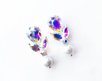 Earrings - Pear Aurora Borealis (AB) Crystal Earrings - Ivory or White Pearl - Silver Teardrop Crystal Earrings - Marquise Crystal