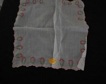Ladies Scalloped Edge Pink Flowered - Hankie or Handkerchief - Never Used