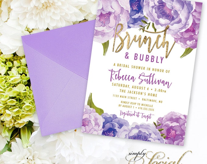Brunch and Bubbly Bridal Shower Invitation - Purple Peony Ranunculus and Faux Gold Foil Watercolor Floral Boho Shower Invitation Printable