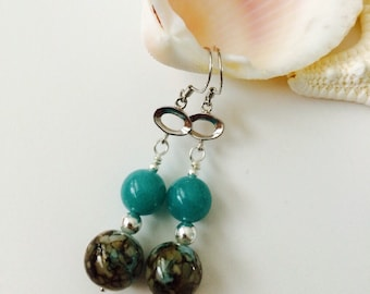 Sterling Silver 9.25, Natural Dyed Amazonite Earrings.