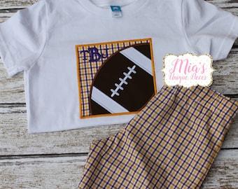 Football Boy Short Set, Purple and Gold Football Shirt and Shorts
