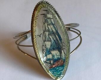 Vintage Large Oval Mother of Pearl and Silver Scrimshaw Ship Scene Bracelet