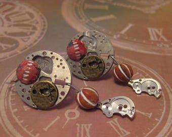 Gears Birds & Sphere Earrings/ Steampunk Gears Birds Sphere Earrings/ Steampunk Earring/ Gifts for Her