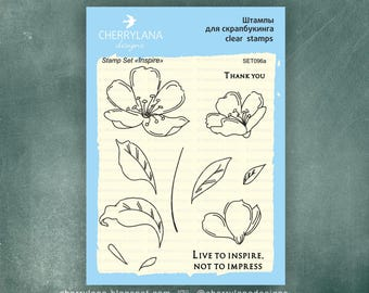 """Inspire Set of Stamps 4x6"""" Clear Photopolymer, Clear Stamps, Clear Rubber Stamps, Stamp Set, Flower Stamps, Cherrylana"""
