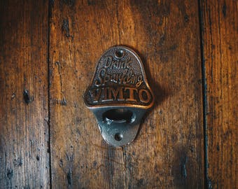 Vintage Style Wall Mounted Bottle Opener in an Antique Iron Finish (Vimto)