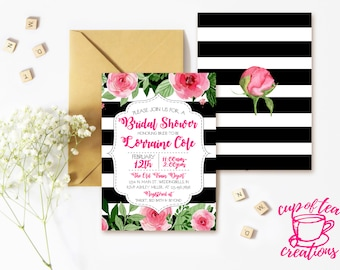 Stripes and Floral Bridal Shower Invitation, Black White Striped Invitation, Floral and Stripes Invitation, Kate Bridal Shower Invitation