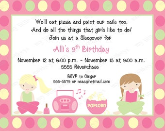 10 Sleepover Birthday Invitations with Envelopes.  Free Return Address Labels