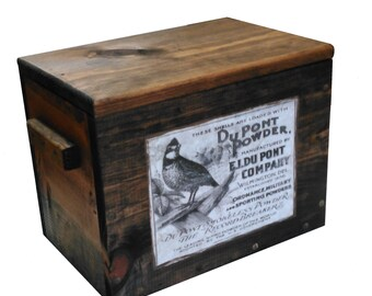 Wooden Ammo Crate - Wood Cartridge Box - Gun Accessories Storage with Vintage Label