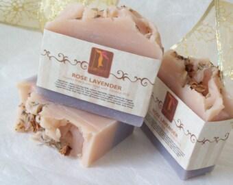 Organic Soap Rose Lavender Soap- Bath and Beauty - Coconut Milk Bar Soap