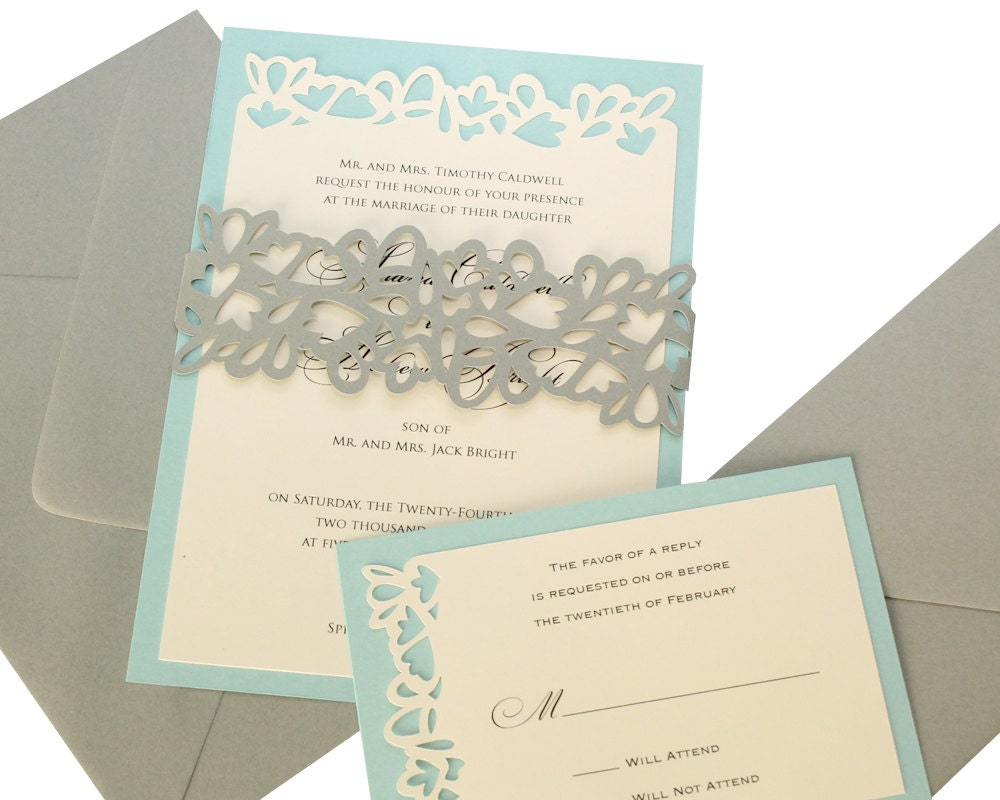 Petal Cutout Wedding Invitations wrap design gray pool