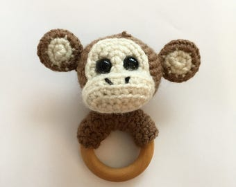 Monkey baby teether, crochet, wooden ring