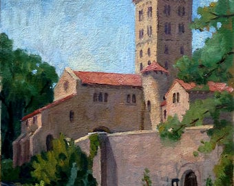 Oil Painting Landscape, The Cloisters, New York City. 10x10 American Impressionist Oil on Panel, Signed Original NYC Realist Fine Art