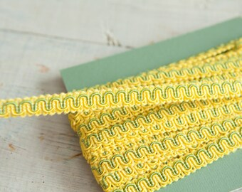 Two Tone Yellow and Green - 3 yards Vintage Trim New Old Stock 60s 70s Edging Gimp