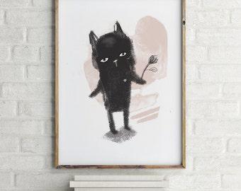 Black cat print, Nursery wall art boy, cat lover gift, cat wall art, nursery decor boy, nursery wall decor, nursery animal wall art