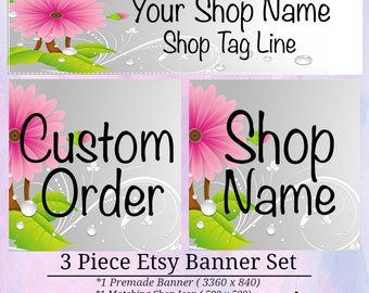 Pink Daisy Floral 3 piece Banner Set