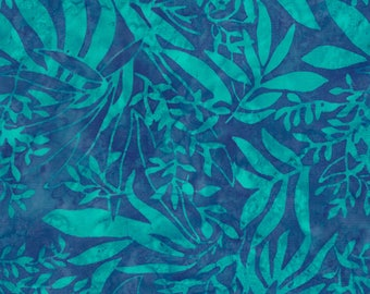 Half Yard Tonga Batik Fabric-Aqua Leaves-Timeless Treasures