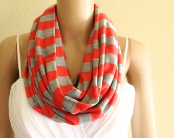 Coral Red And Grey Striped Circle Scarf. Stripe Infinity Scarf. Soft Cotton Spandex Loop Scarf.