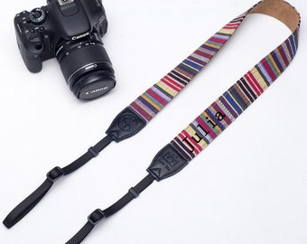 Custom name leather DSLR camera strap bohemian stripes camera strap for Nikon/Canon.Personalized camera strap for Photographers-1320