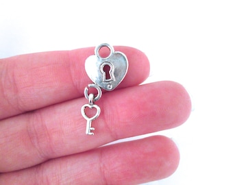 Silver Plated Padlock Heart with Key Charms, pick your amount, D155