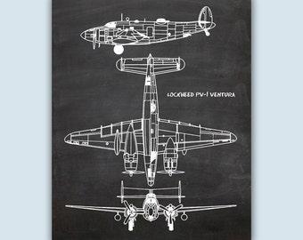 Airplane Poster, Chalkboard Print, Airplane Decor, Pilot Gift, Airplane Art, Aviation Poster, Aviation Gifts, Lockheed PV-1 Ventura