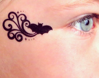 Bat batman Batgirl Temporary Face Tattoo for Halloween - Costume Party Tattoo