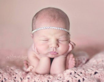 Newborn Girl Headband, Baby Headband, Newborn Prop, Photo Prop Headband, Rhinestone Headband, Baby Girl Headband, Newborn Tieback, Baby Girl