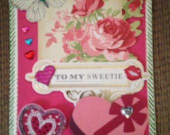 """Valentine Card with """"To My Sweetie"""" Greeting/Handmade/3D/Floral/Pink and Red with Roses and a Big 3D Box of Candy for your Sweetie."""