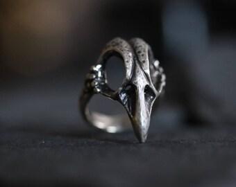 Unisex Sterling Silver Bird Skull Ring- Birdskull Ring- Skull Ring - Raven Skull Ring - Boho Ring - Bohemian Ring - Gypsy Skull Ring