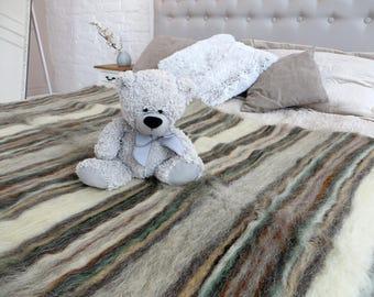 Wool Blanket Full Sofa Throw  Striped Throw Wool Throw Blanket  Natural Winter Coverlet  Woven Woolbedding Wedding Gift Warm Throw Bedspread