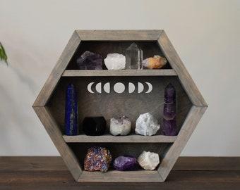 Vintage Wash Moon Phases Hanging Hexagon Display Box