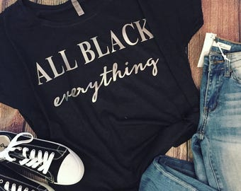 Ladies All Black Everything Slouchy Shirt