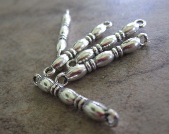 5 Antiqued Silver-Plated Pewter Links, 17x3mm Double-Sided 3-Oval Bar - JD50