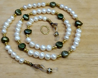"EY1403 Spectacle Necklace/Lanyard, 28-1/2"", White Freshwater Natural Pearls, Large Moss Green Baroque Style Freshwater Pearls"