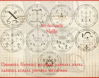 Archangel - 9 sigials or symbols Rubber Stamp  Set of 9 angels