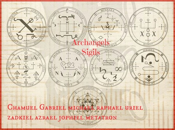 Archangel 9 Sigials Or Symbols Rubber Stamp Set Of 9 Angels From