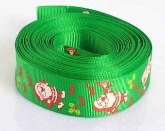 FIL113 - A meter of Ribbon polyester grosgrain, Green Apple, 25mm wide