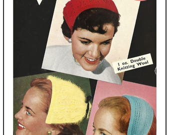 1950s Alice Band Hats Vintage Knitting Pattern - Instant Download