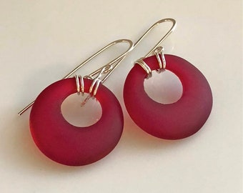 Red Cultured Sea Glass Earrings with Sterling Silver Ear Wires