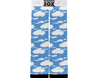 Custom Blue Sky Clouds Socks