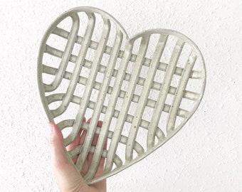 Vintage Woven Pottery Heart / Stoneware Heart Basket
