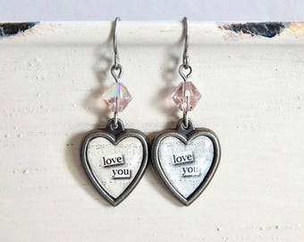 Valentine's Day heart earrings - Love You - crystal heart earrings - I love you earrings