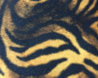 Tiger Animal Print Fleece Fabric by David Textiles by the yard