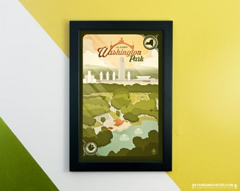Albany, NY Washington Park Print • New York Poster • City of Albany Empire State Plaza • Capital District Park • Wall Art Graphic Design