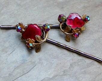 Vintage 40's Red Ruby Enamel Hair Pins, Vintage Recycled AB Rhinestone