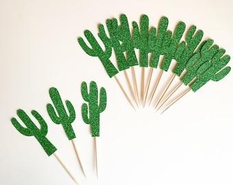 CACTUS CUPCAKE TOPPERS | Fiesta Decorations | Cactus Picks | Cactus Party Decor | Cinco de Mayo Decorations | Birthday Fiesta Decor | Cacti