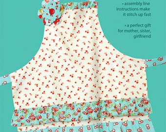 CHORE GIRL APRON pattern adult size Cabbage Rose shabby easy sewing farmhouse cotton patchwork rotary cutter quilter style