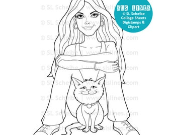 Pretty girl with cute cat digital stamp, digistamp girl sitting with kitty, adult coloring page, teenager with cat